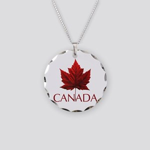 Canada Flag Maple Leaf Necklace Circle Charm