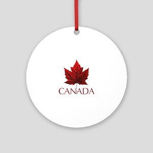 Canada Flag Maple Leaf Round Ornament