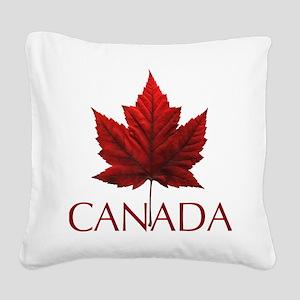 Canada Flag Maple Leaf Square Canvas Pillow