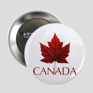 """Canada Flag Maple Leaf 2.25"""" Button"""