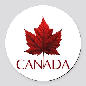 Canada Flag Maple Leaf Round Car Magnet