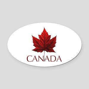 Canada Flag Maple Leaf Oval Car Magnet