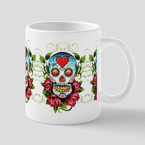 Hearts and Bone Sugar Skull 11 oz Ceramic Mug