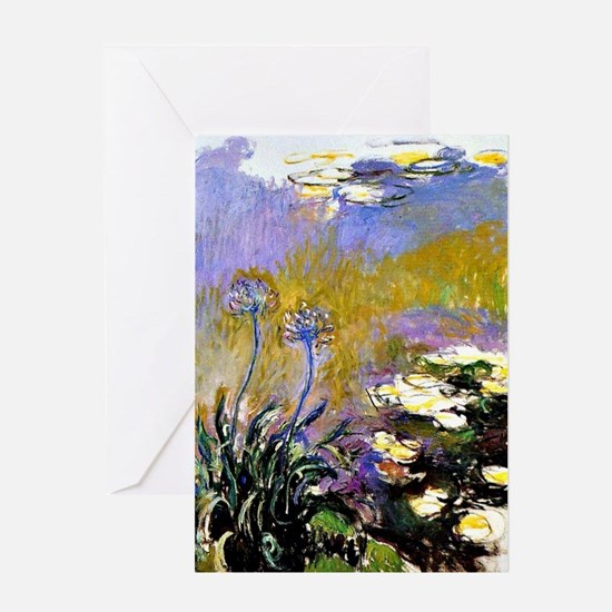 Claude Monet art: Agapanthus Greeting Card