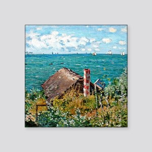 "Monet: The Cabin at Saint A Square Sticker 3"" x 3"""