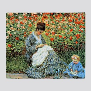 Camille Monet and Child Throw Blanket