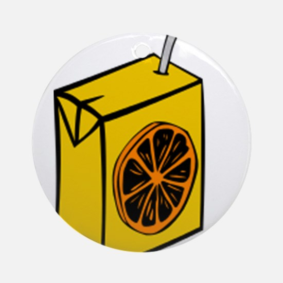 Orange Juice Box Ornament (Round)