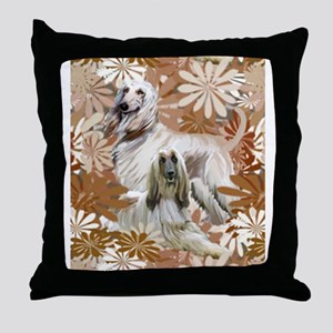 Afghan Hound Floral Throw Pillow