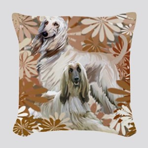 Afghan Hound Floral Woven Throw Pillow