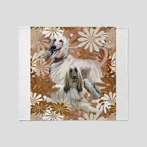 Afghan Hound Floral Throw Blanket
