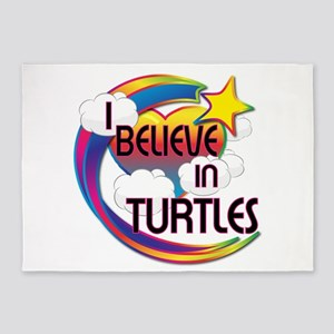 I Believe In Turtles Cute Believer Design 5'x7'Are