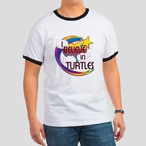 I Believe In Turtles Cute Believer Design Ringer T