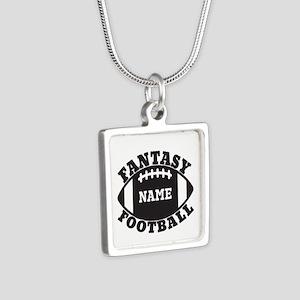 Personalized Fantasy Football Silver Square Neckla