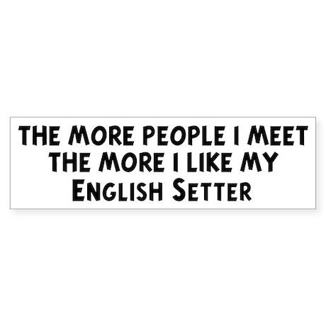 English Setter: people I meet Bumper Sticker