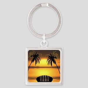 Beach Sunset Square Keychain