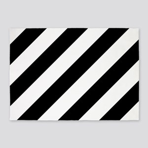 Black and White Diagonal Striped 5'x7'Area Rug