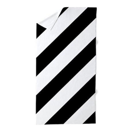 Black and White Diagonal Striped Beach Towel