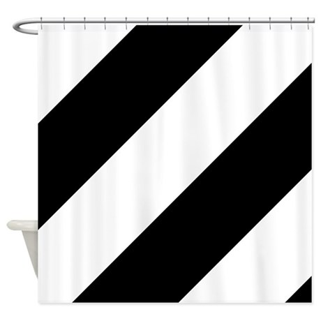 Black and White Diagonal Striped Shower Curtain