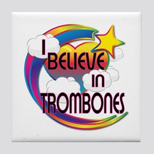 I Believe In Trombones Cute Believer Design Tile C