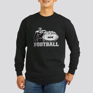 Personalized Football Player Long Sleeve Dark T-Sh