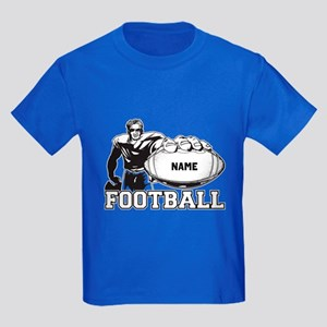 Personalized Football Player Kids Dark T-Shirt