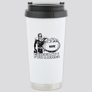 Personalized Football Player Stainless Steel Trave