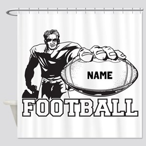 Personalized Football Player Shower Curtain