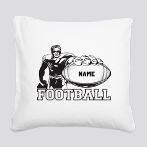 Personalized Football Player Square Canvas Pillow
