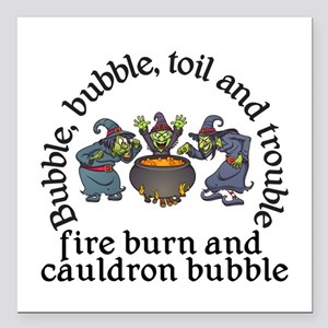 "Witch Cauldron Halloween Square Car Magnet 3"" x 3"""