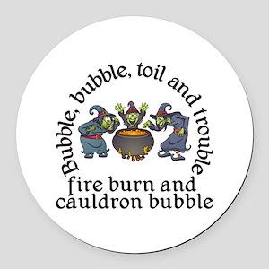 Witch Cauldron Halloween Round Car Magnet