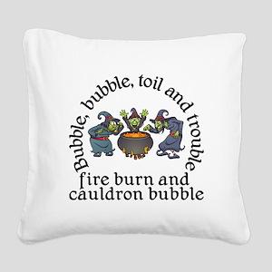 Witch Cauldron Halloween Square Canvas Pillow