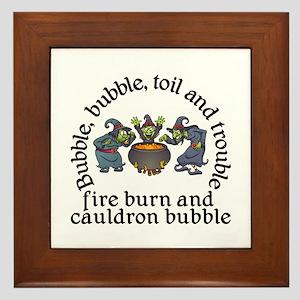 Witch Cauldron Halloween Framed Tile