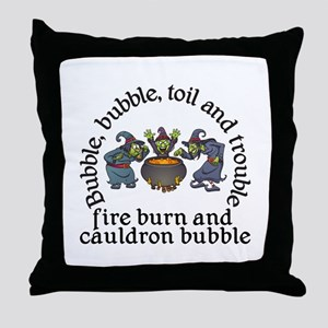 Witch Cauldron Halloween Throw Pillow