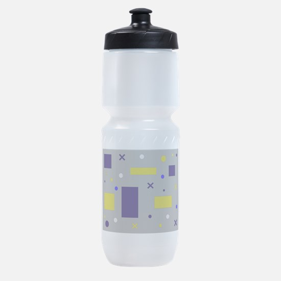 Yellow & Blue circles & squares & x' Sports Bottle