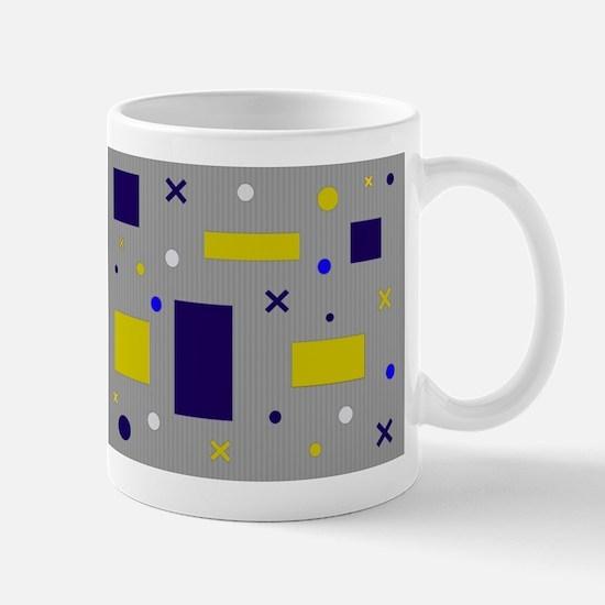 Yellow & Blue circles & squares & x's Mugs