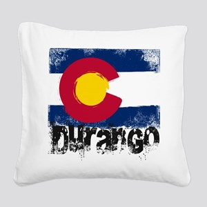 Durango Grunge Flag Square Canvas Pillow