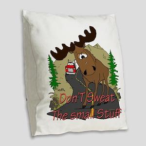Moose fun Burlap Throw Pillow