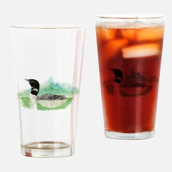 Watercolor Loon Wilderness Lake Bird logo Drinking