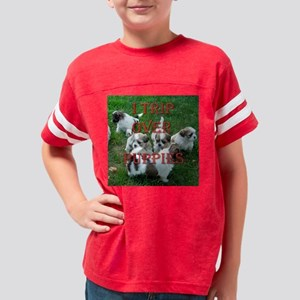 puppies trip12x12 Youth Football Shirt