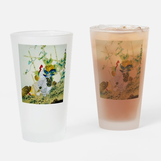 Nature & Rooster Motif Drinking Glass