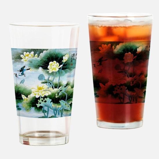 Oriental Floral & Bird Motif Drinking Glass