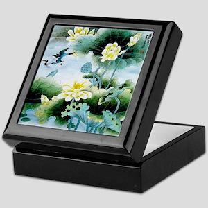 Oriental Floral & Bird Motif Keepsake Box