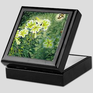 Beautiful Flower Green Motif Keepsake Box