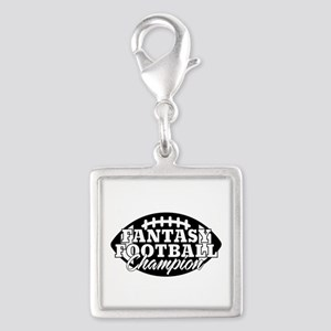 Personalized Fantasy Football Silver Square Charm