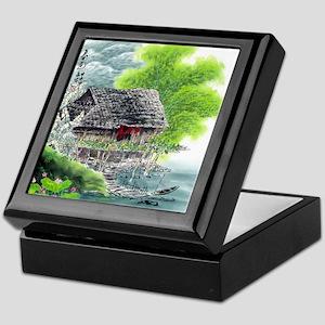 Oriental Hut by the Riverside Keepsake Box