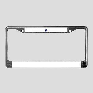 sax player side outline blue License Plate Frame