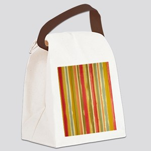Earthy Rust Stripes Canvas Lunch Bag