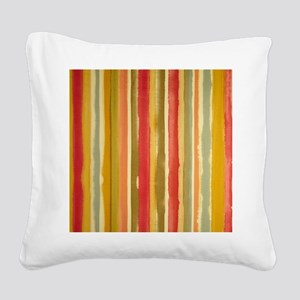 Earthy Rust Stripes Square Canvas Pillow