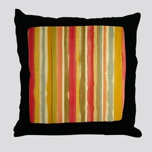 Earthy Rust Stripes Throw Pillow