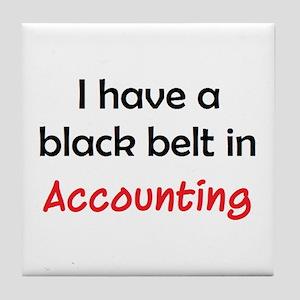 accounting black belt Tile Coaster